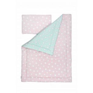 Pościel dziecięca Pink & Mint Stars 100 x 135 cm