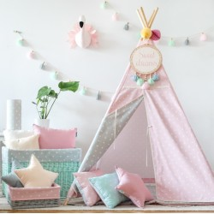 Namiot Tipi - Lovely Dots Pink&Grey