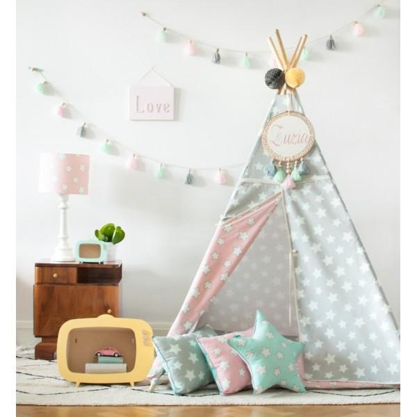 Namiot Tipi - Pink&Grey Stars