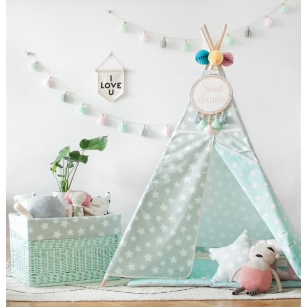 Namiot Tipi - Mint&Grey Stars