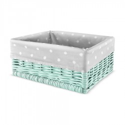 Wiklinowy kosz Lovely Dots Grey / Mint