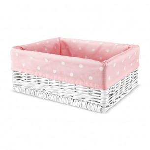 Wiklinowy kosz Lovely Dots Pink
