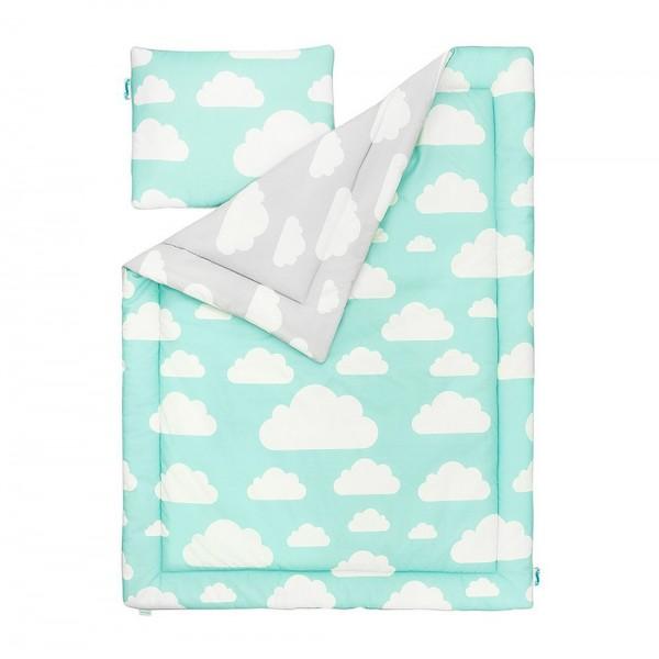 Pościel dziecięca Chmurki Mint & Grey