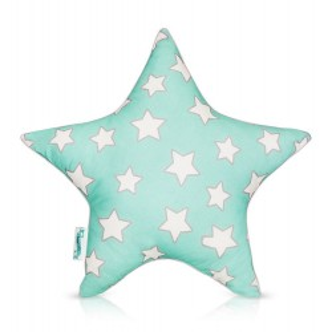 "Poduszka ozdobna ""STAR"" Mint & Grey Stars"