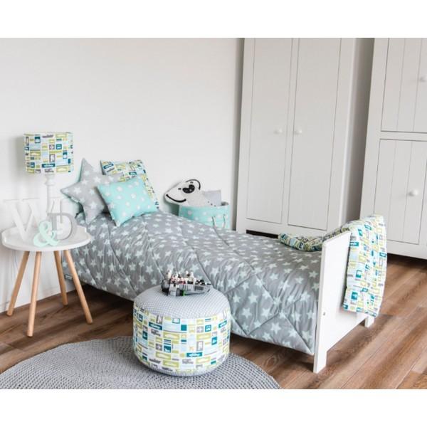 Narzuta na łóżko dziecięce Mint & Grey Stars
