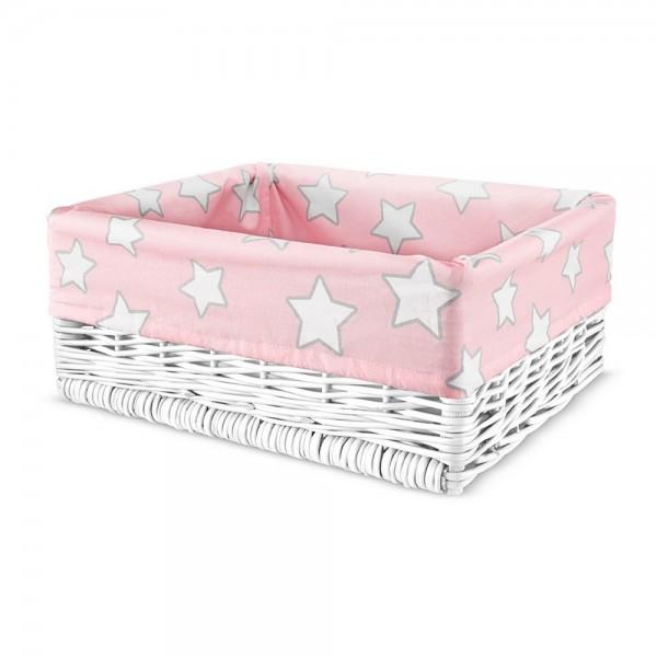 Wiklinowy kosz Pink Stars