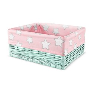 Wiklinowy kosz Pink Stars / Mint